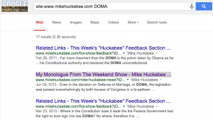 """Google search for """"DOMA"""" on Mike Huckabee web site"""