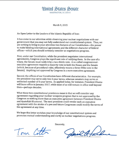 47 Senators' Open Letter to Iran
